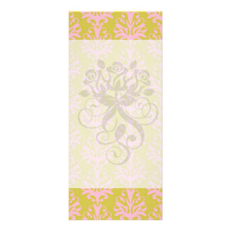 pink and spring green intricate damask pattern rack card template