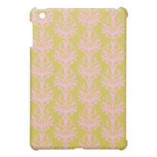 pink and spring green intricate damask pern iPad mini cases