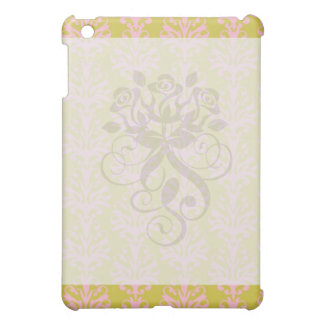 pink and spring green intricate damask pern iPad mini cover