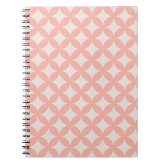 Pink and Tan Geocircle Design Spiral Notebook