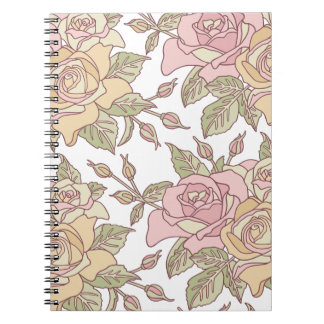 Pink and Tan Roses Notebook