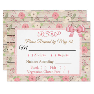 PInk and tan Rustic Wood Floral Wedding RSVP card
