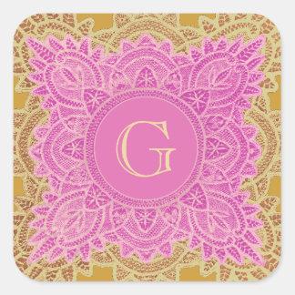 Pink and Tan Vintage Monogram Wedding V32 Square Sticker