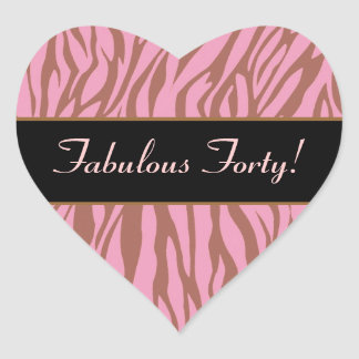 Pink and Tan Zebra Fabulous 40 Birthday Heart Sticker