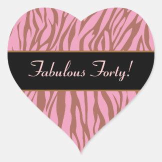 Pink and Tan Zebra Fabulous 40 Birthday Heart Sticker