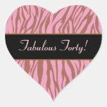 Pink and Tan Zebra Fabulous 40 Birthday Stickers