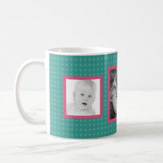 Pink and Teal 3 Custom IG Photos Coffee Mug
