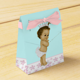 Pink and Teal African American Baby Girl Shower Favor Boxes