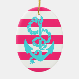 Pink and Teal Anchor Ceramic Ornament