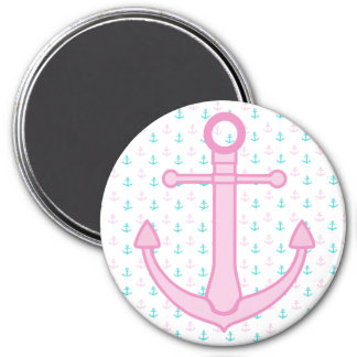 Pink and Teal Anchor Nautical Magnets