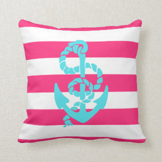 Pink and Teal Anchor Pillow