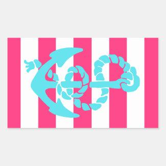 Pink and Teal Anchor Rectangular Sticker