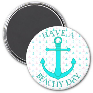 Pink and Teal Anchors Nautical Magnets