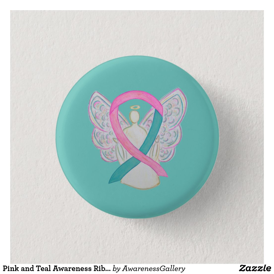 Pink and Teal Awareness Ribbon Angel Button Pins