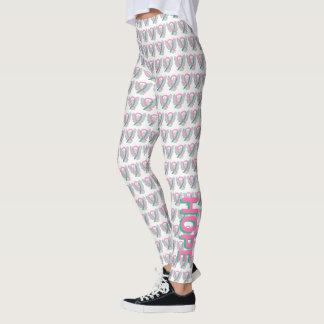 Pink and Teal Awareness Ribbon Angel Leggings