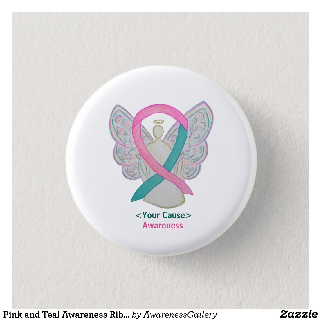 Pink and Teal Awareness Ribbon Angel Pin Buttons