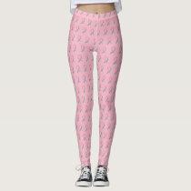 Pink and Teal Awareness Ribbon Cancer Art Leggings