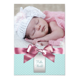 Pink and Teal Baby Girl Photo Birth Announcement