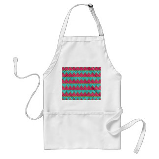 Pink And Teal Basket Weave Hearts Aprons