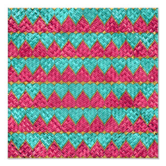 Pink And Teal Basket Weave Hearts Photo