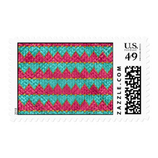 Pink And Teal Basket Weave Hearts Postage Stamps