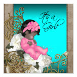 Pink and Teal Blue Baby Girl Shower Custom Announcements