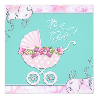 Pink and Teal Blue Baby Shower Card
