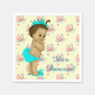 Pink and Teal Blue Baby Shower Paper Napkins