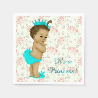 Pink and Teal Blue Baby Shower Paper Napkin
