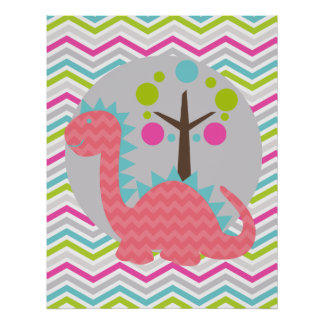 Pink and Teal Blue Chevron Dragon Nursery Poster