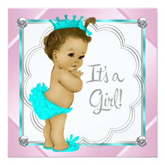 Pink and Teal Blue Princess Baby Shower 5.25x5.25 Square Paper Invitation Card