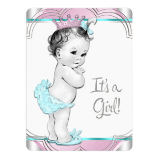 Pink and Teal Blue Princess Baby Shower 6.5x8.75 Paper Invitation Card