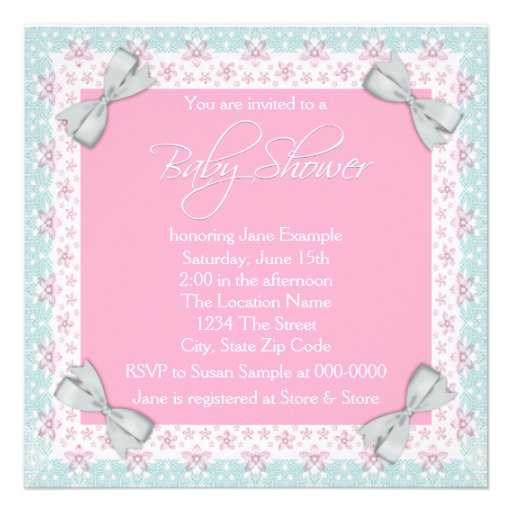 Vintage Baby Shower Invitations Girl: Pink And Teal Blue Vintage Baby Girl Shower Personalized