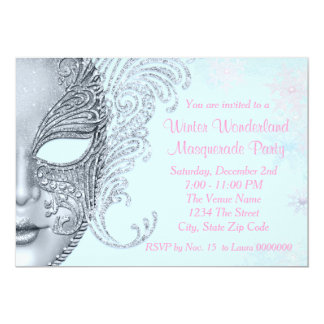 Pink and Teal Blue Winter Wonderland Party Card