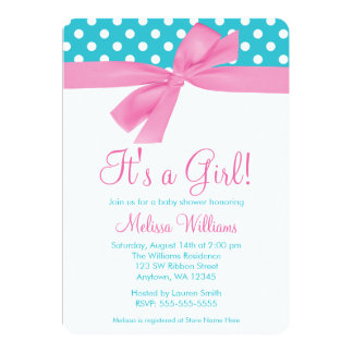 Pink and Teal Bow Polka Dot Baby Shower Card