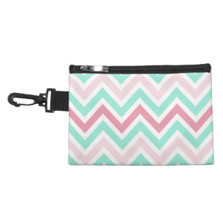 Pink and Teal Chevron Accessory Bags