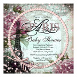 Pink and Teal Chic Paris Baby Shower Invites