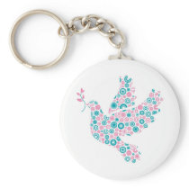 Pink and Teal DOVE Keychain