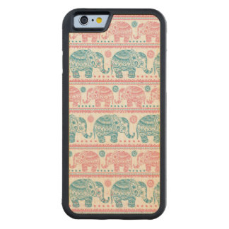 Pink And Teal Elephant Maple iPhone 6 Bumper Case Carved® Maple iPhone 6 Bumper Case