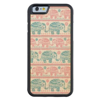 Pink And Teal Ethnic Elephant Pattern