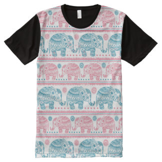 Pink And Teal Ethnic Elephant Pattern All-Over-Print T-Shirt