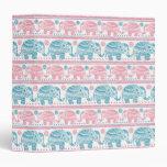Pink And Teal Ethnic Elephant Pattern Vinyl Binders