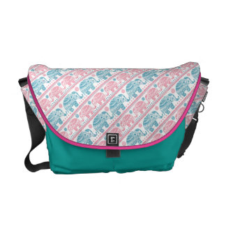 Pink And Teal Ethnic Elephant Pattern Courier Bag