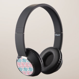Pink And Teal Ethnic Elephant Pattern Headphones