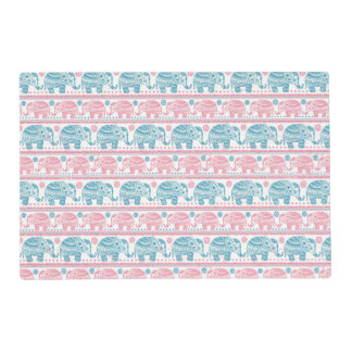 Pink And Teal Ethnic Elephant Pattern Placemat