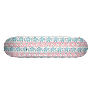 Pink And Teal Ethnic Elephant Pattern Skateboard Deck
