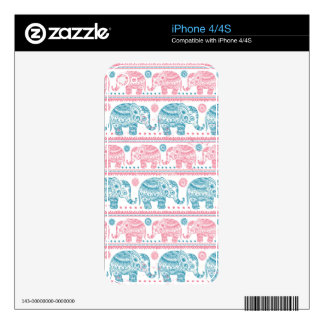Pink And Teal Ethnic Elephant Pattern Skin For iPhone 4S