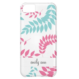 Pink and Teal Fern Foliage Pattern iPhone 5C Cover