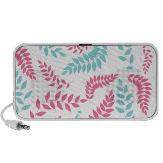 Pink and Teal Fern Foliage Pattern iPod Speakers