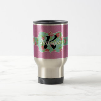 Pink and Teal Floral Monogram on Damask Coffee Mugs